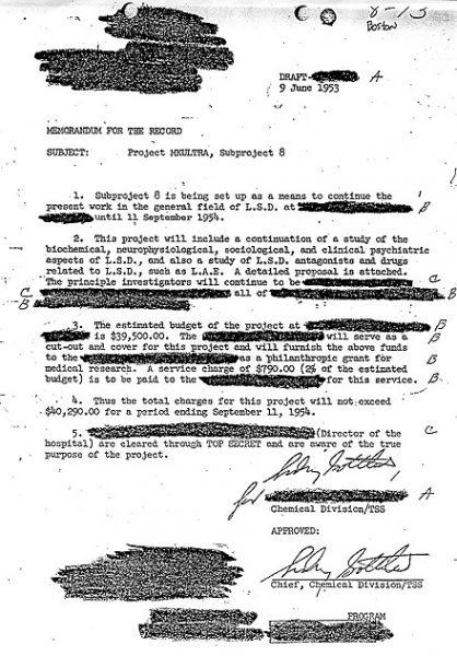 Jeden z odtajnionych dokumentów na temat operacji MK-Ultra