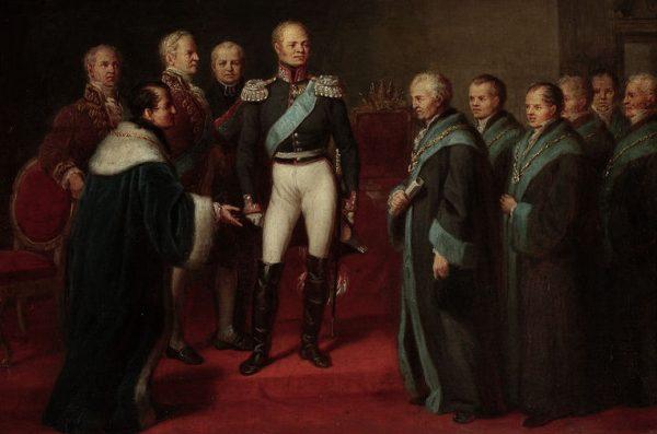 Nadanie dyplomu erekcyjnego Uniwersytetowi Warszawskiemu przez cara Aleksandra I