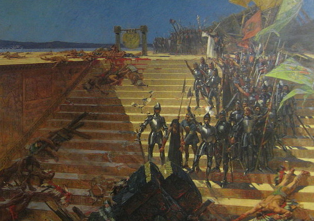 Armia konkwistadorów starła się w krwawym boju z Aztekami pod Tenochtitlán