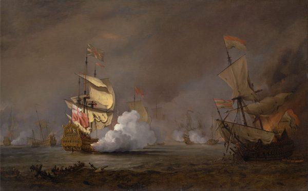 """""""Rzeka pełna była płynących okrętów, łodzi, płonących szczątków. Nieprzerwany grzmot armat i muszkietów głuszył nawet skargi rannych. […] Nad tym wszystkim unosiła się ciemna chmura prochowego dymu oświetlana łuną płomieni i błyskami broni palnej"""""""