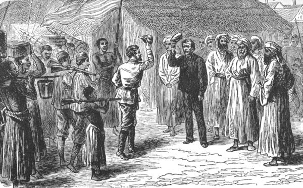 """Po wielu miesiącach wędrówki w listopadzie 1871 roku wyprawa dotarła do wioski Ujuji nad brzegiem jeziora Tanganika. Tam Stanley w końcu znalazł """"zgubę""""."""