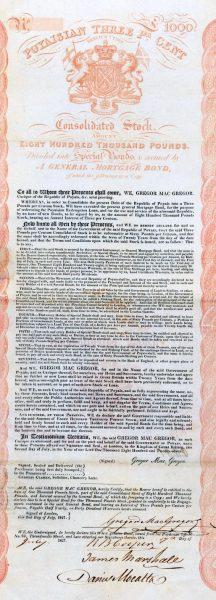 Sprzedaż gruntów Poyais zaczęła iść jak świeże bułeczki, co zachęciło MacGregora do wypuszczenia obligacji, na które zdobył poręczenie jednego z szanowanych londyńskich banków.