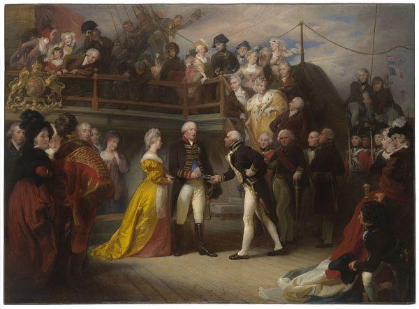Król Jerzy i Earl Howe na pokładzie Queen Charlotte