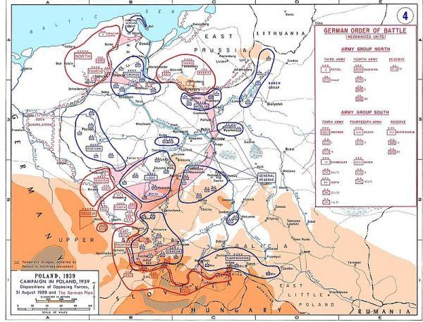 """Mapa przedstawiająca rozmieszczenie sił niemieckich według planu """"Fall Weiss"""""""