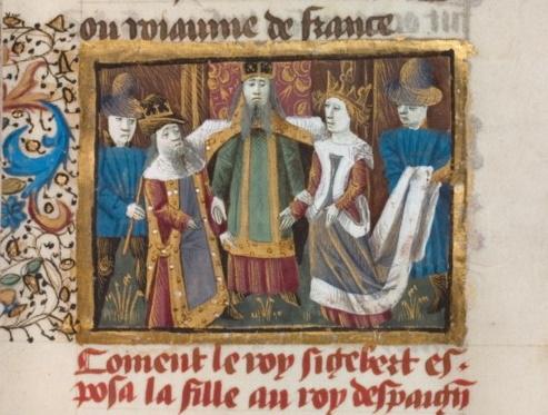Brunhilda została wygnana i odsunięta od władzy, ale nie zamierzała się poddać. Na scenę wróciła po tym, jak w 584 roku Fredegunda rozkazała zabić swojego męża, gdyż ten odkrył, że żona go zdradza.